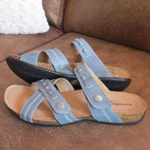 Earth Origins Blue Leather Sandals Velcro Sz 10M
